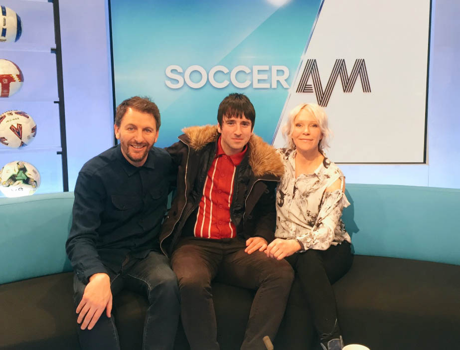 Ben with Fenners and Helen at Soccer AM
